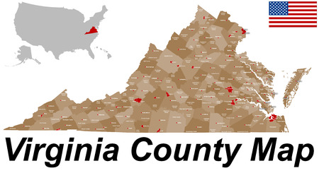 A large and detailed map of the State of Virginia with all counties and county seats. Banco de Imagens - 43608698