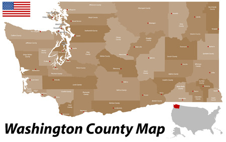 A large and detailed map of the State of Washington with all counties and county seats. Иллюстрация
