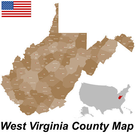 counties: A large and detailed map of the State of West Virginia with all counties and county seats. Illustration