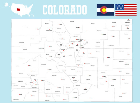 state of colorado: A large and detailed map of the State of Colorado. Illustration