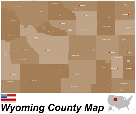 A large and detailed map of the State of Wyoming. Иллюстрация