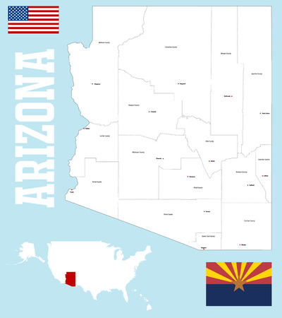 pima: A large and detailed map of the State of Arizona.