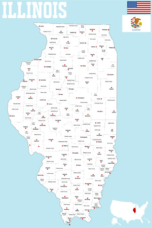 county: A large and detailed map of the State of Illinois.