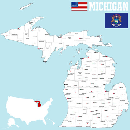 A large and detailed map of the State of Michigan. Illustration