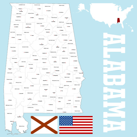 A large and detailed map of the State of Alabama. Иллюстрация