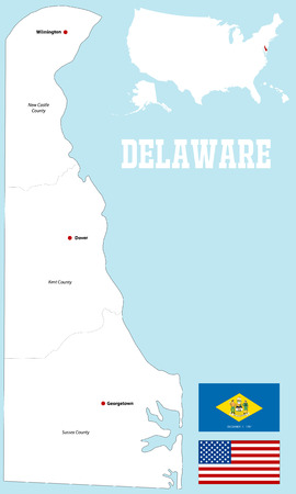 dover: A large and detailed map of the State of Delaware. Illustration