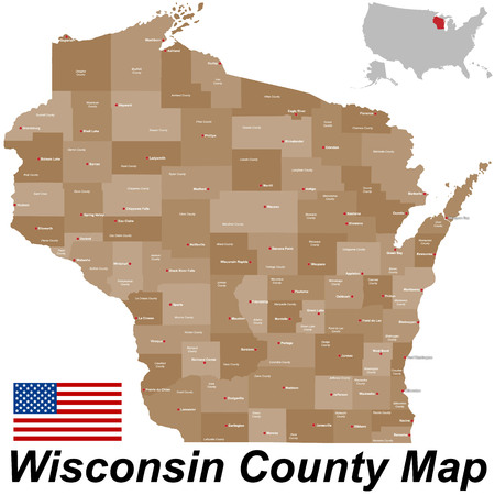A large and detailed map of the State of Wisconsin. Иллюстрация
