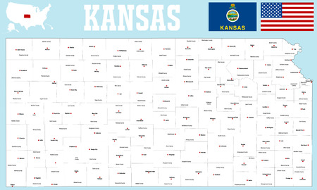 dodge: A large and detailed map of the State of Kansas. Illustration