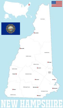 Een grote en gedetailleerde kaart van de staat New Hampshire met alle provincies en grote steden.