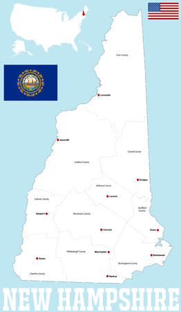 A large and detailed map of the State of New Hampshire with all counties and main cities.