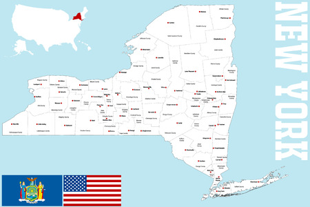 bronx county: A large and detailed map of the State of New York with all counties and main cities.