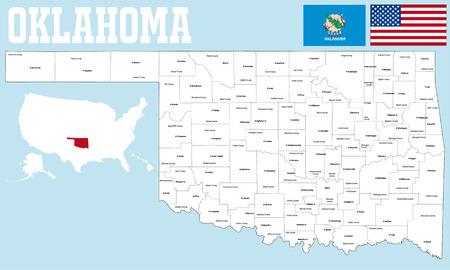 オクラホマ州のすべての郡、郡席の大規模かつ詳細な地図。