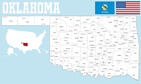 counties: A large and detailed map of the State of Oklahoma with all counties and county seats.