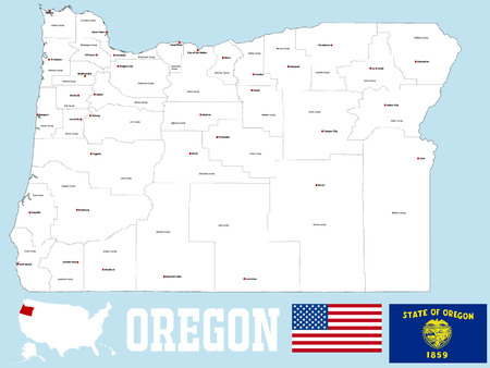 counties: A large and detailed map of the State of Oregon with all counties and county seats.