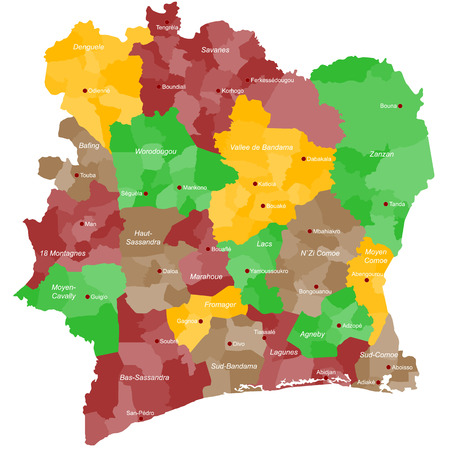 ivory: A large and detailed map of Ivory Coast with all provinces, regions and main cities.