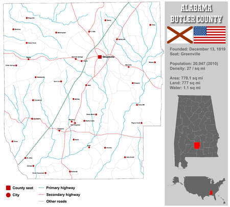 bullock: Large and detailed map and information about Bullock County, Alabama. Illustration