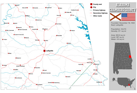 Large and detailed map and information about Chambers County in Alabama.
