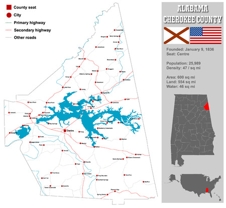cherokee: Large and detailed map and information about Cherokee County in Alabama.