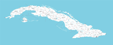 guantanamo: Large and detailed map of Cuba with cities