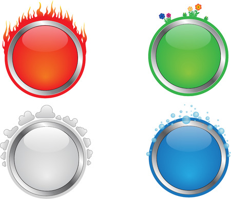 fire and water: Four different buttons with the elements fire, water, air and earth.