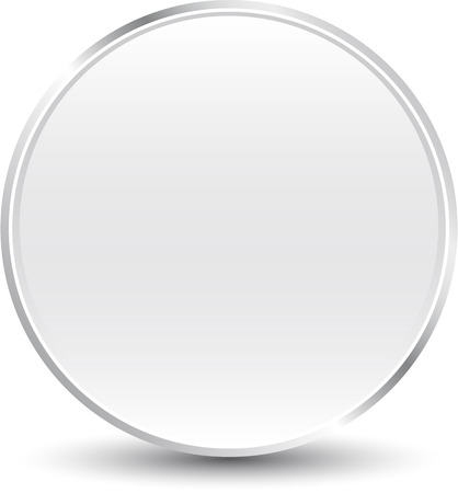 A large button in silver colors with shadows. Ilustrace