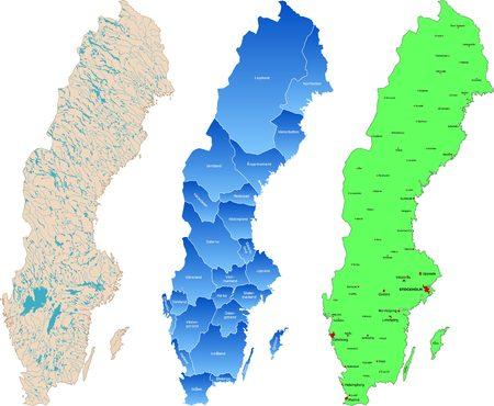 sweden: Large maps of Sweden Illustration