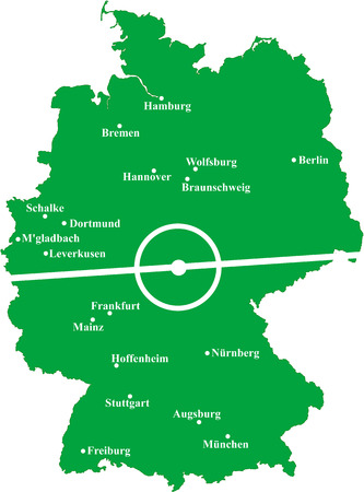 bremen: Map of Germany with soccer cities