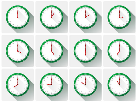 noon: Twelve different clocks with shadows in green color. Illustration