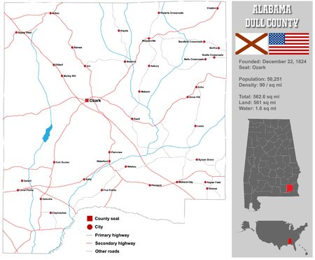 dull: Large and detailed map and info about Dull County in Alabama. Illustration
