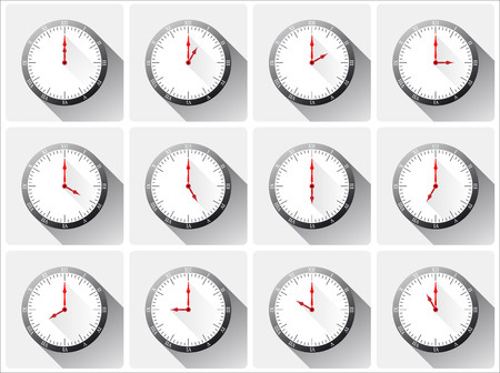 midnight time: Twelve different clocks with shadows on white background.