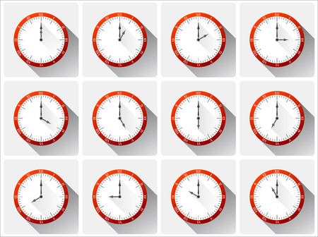 noon: Twelve different clocks with shadows in red color. Illustration