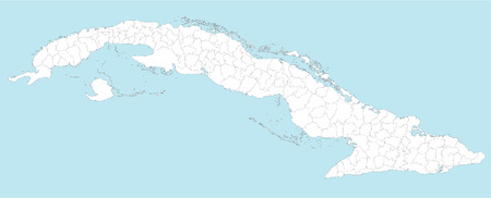 middle america: A large and detailed map of Cuba with all provinces and municipios.