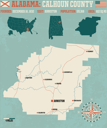 oxford: Large and detailed map and information about Calhoun County in Alabama.