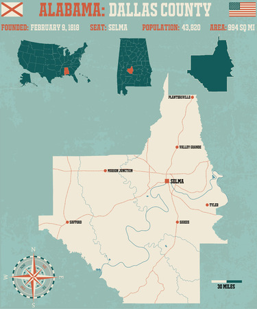 Large and detailed map and info about Dallas County in Alabama Illustration
