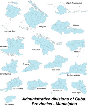 middle america: Administrative map of cuba with all provinces and municipios