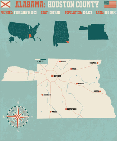 houston: Large and detailed map and info about Houston County in Alabama
