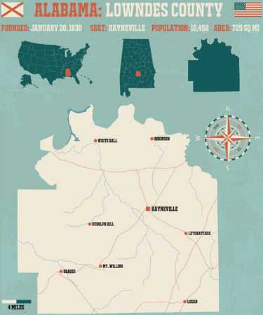 Large and detailed map and info about Lowndes County in Alabama Illustration