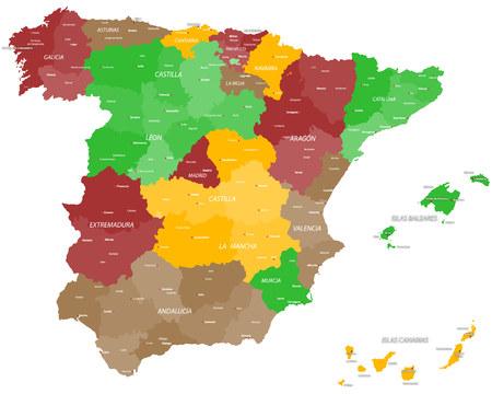 スペインの大規模かつ詳細な地図  イラスト・ベクター素材
