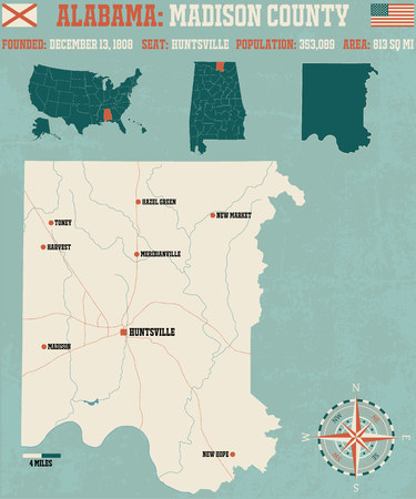 madison: Large and detailed map and info about Madison County in Alabama