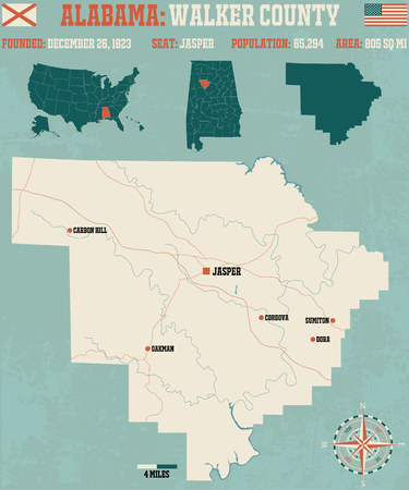 jasper: Large and detailed map and info about Walker County in Alabama