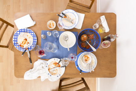 leavings: Table with chairs and dirty dishes Arranged on it