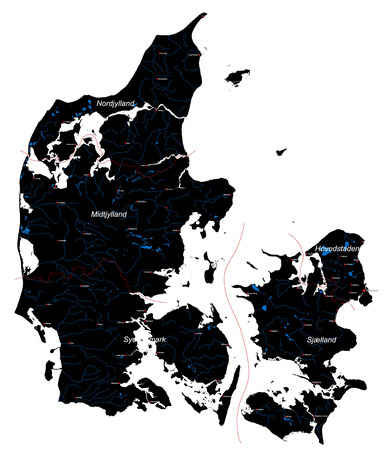 lake district: Large and detailed map of Denmark with rivers, lakes, islands and cities. Illustration
