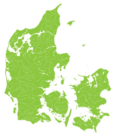lake district: Large and detailed map of Denmark with rivers, lakes and islands.