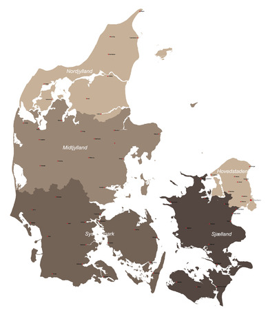 lake district: Large and detailed map of Denmark with all islands and cities. Illustration