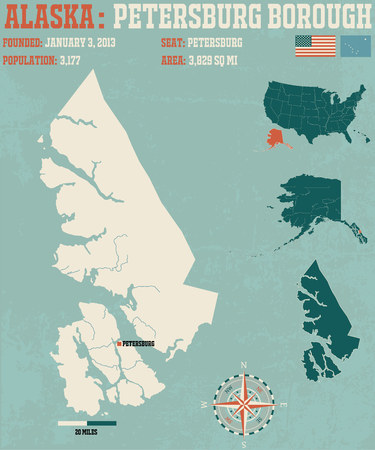 borough: Large and detailed infographic of the Petersburg Borough in Alaska Illustration
