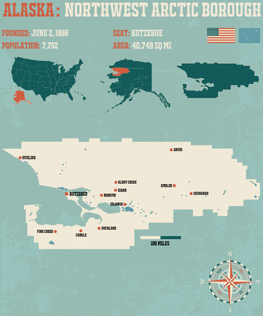 borough: Large and detailed infographic of the Northwest Arctic Borough in Alaska Illustration