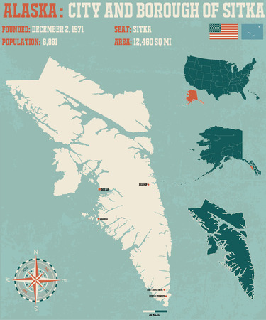 borough: Large and detailed infographic of the City and Borough of Sitka in Alaska
