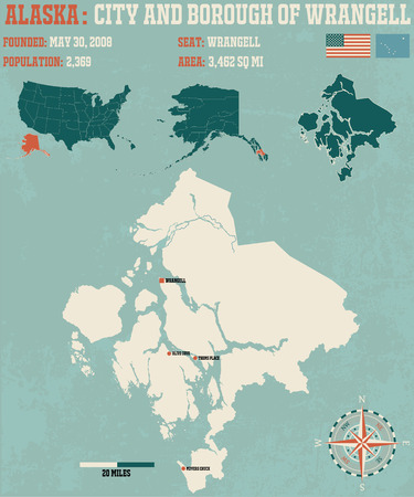 borough: Large and detailed infographic of the City and Borough of Wrangell in Alaska