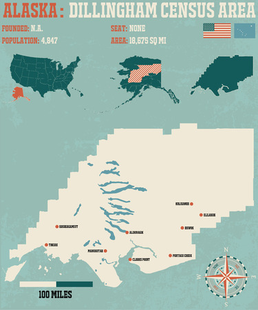 census: Large and detailed infographic of the Dillingham Census Area, Alaska Illustration