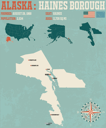 bay area: Large and detailed infographic of the Haines Borough in Alaska